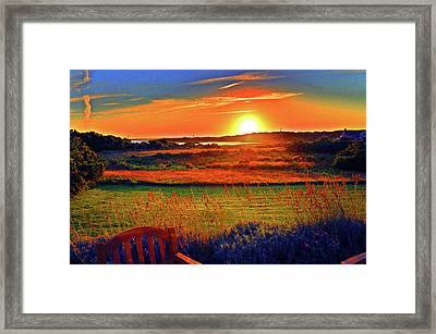 Eat Fire Spring Road Polpis Harbor Nantucket Framed Print by Duncan Pearson