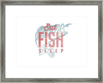 Eat Fish Sleep Tee Framed Print by Edward Fielding