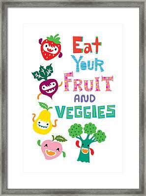 Eat Your Fruit And Veggies Framed Print by Andi Bird