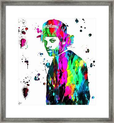 Eazy E Paint Splatter Framed Print by Dan Sproul