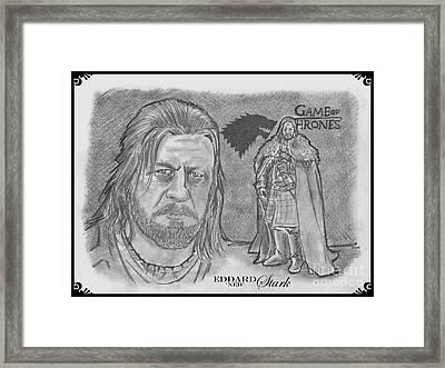 Eddard Stark Framed Print by Chris  DelVecchio