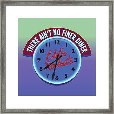 Eddie Rocket Clock Framed Print by Greg Joens