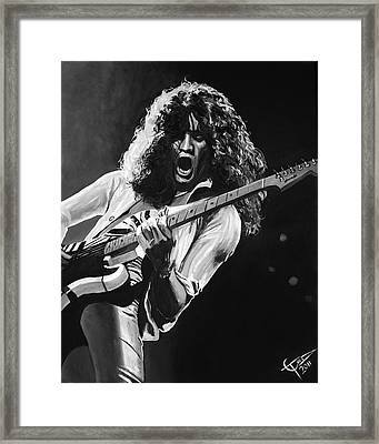 Eddie Van Halen - Black And White Framed Print by Tom Carlton
