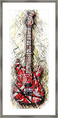 Eddie's Guitar Vert 1a Framed Print by Gary Bodnar