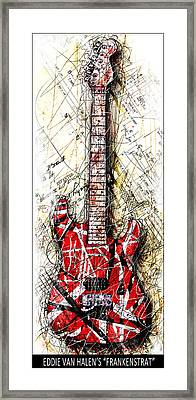 Eddie's Guitar Vert 1b Framed Print by Gary Bodnar