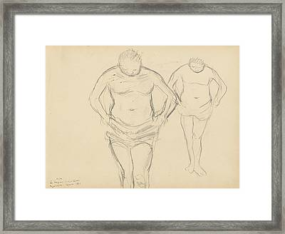 Copies Of Cezanne's Bathers Framed Print by Edgar Degas