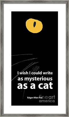 Edgar Allan Poe Quote And Cats Framed Print by Pablo Franchi