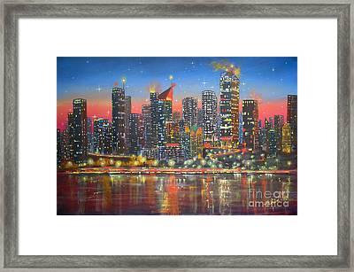 Edmonton By Night Framed Print by Mohamed Hirji