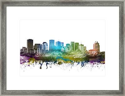 Edmonton Cityscape 01 Framed Print by Aged Pixel