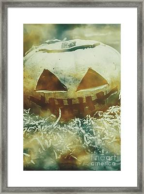Eerie Ghoulish Halloween Pumpkin Head Framed Print by Jorgo Photography - Wall Art Gallery