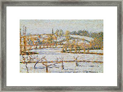 Effect Of Snow At Eragny Framed Print by Camille Pissarro
