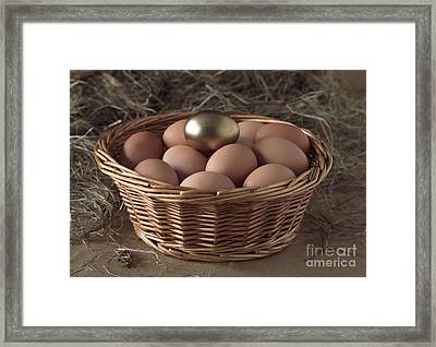 Eggs In Basket With A Golden One Framed Print by Gerard Lacz