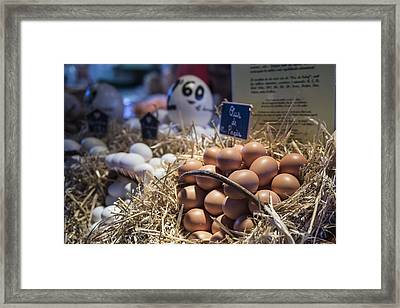 Eggsactly What You Are Looking For - La Bouqueria - Barcelona Spain Framed Print by Jon Berghoff