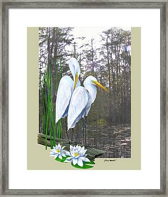 Egrets And Cypress Pond Framed Print by Kevin Brant