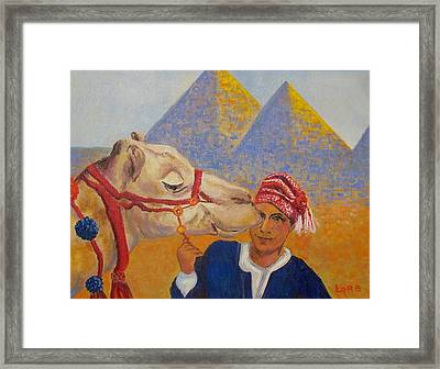 Egyptian Boy With Camel Framed Print by Lore Rossi