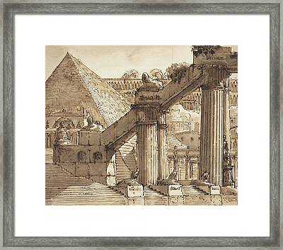 Egyptian Stage Design Framed Print by Pietro Gonzaga