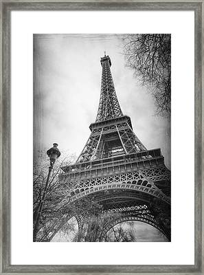 Eiffel Tower And Lamp Post Bw Framed Print by Joan Carroll