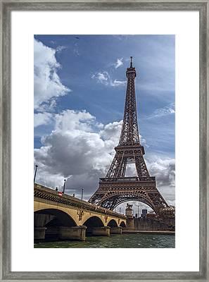 Eiffel Tower And Pont D'lena Framed Print by Joan Carroll