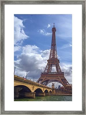 Eiffel Tower And Pont D'lena Painterly Framed Print by Joan Carroll