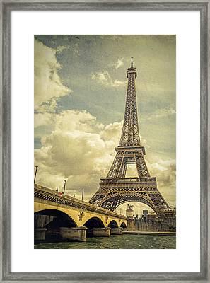 Eiffel Tower And Pont D'lena Vintage Framed Print by Joan Carroll