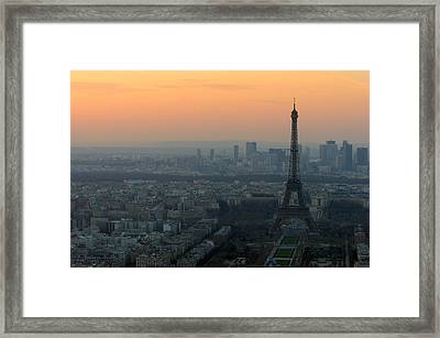 Eiffel Tower At Dusk Framed Print by Sebastian Musial