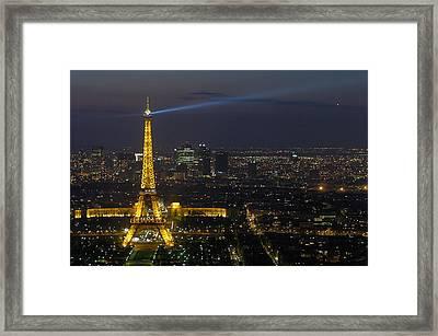 Eiffel Tower At Night Framed Print by Sebastian Musial