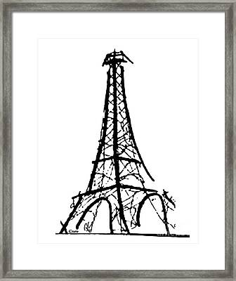Eiffel Tower Black And White Framed Print by Robyn Saunders