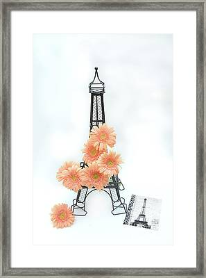 Eiffel Tower Peach Gerber Daisies Cottage Decor - Eiffel Tower Floral Daisies Still Life Decor Framed Print by Kathy Fornal