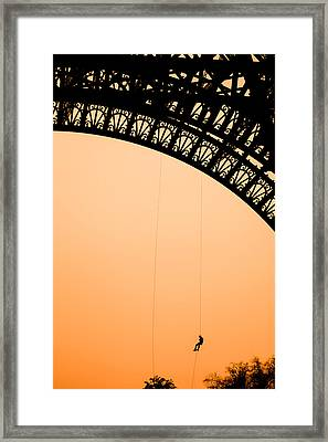 Eiffel Tower Workman Framed Print by Nila Newsom