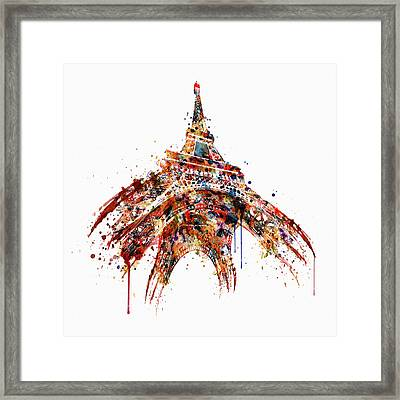 Eiffel Tower Watercolor Framed Print by Marian Voicu