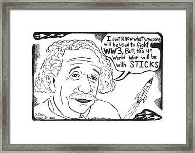Einstein's Theory Of War Framed Print by Yonatan Frimer Maze Artist
