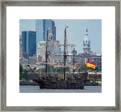 El Galeon Andalucia Close Up Philly Skyline Framed Print by Terry DeLuco