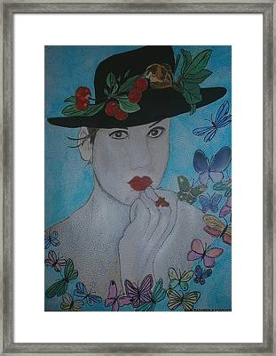 El Tiempo De Las Cerezas Framed Print by Anne Bazabidila