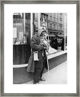 Elderly Blind Man Beggar Framed Print by Underwood Archives