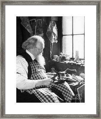 Elderly Cobbler At Work, C.1920-30s Framed Print by H. Armstrong Roberts/ClassicStock