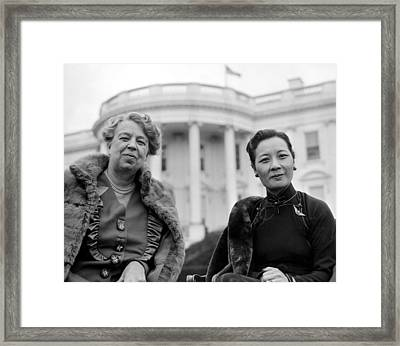 Eleanor Roosevelt And Madame Chiang Framed Print by Everett