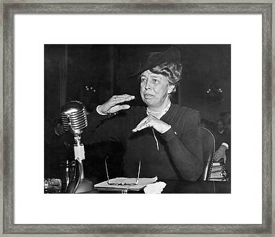 Eleanor Roosevelt At Hearing Framed Print by Underwood Archives