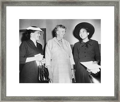 Eleanor Roosevelt, With Two African Framed Print by Everett