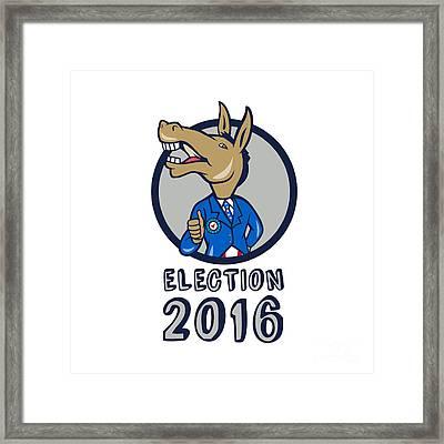 Election 2016 Democrat Donkey Mascot Circle Cartoon Framed Print by Aloysius Patrimonio