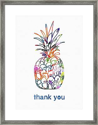 Electric Pineapple Thank You Card- Art By Linda Woods Framed Print by Linda Woods