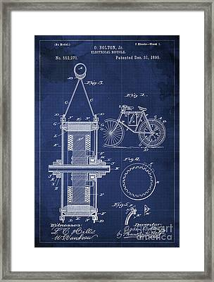 Electrical Bycicle Patent Blueprint Year 1895 Blue Vintage Decoration Framed Print by Pablo Franchi