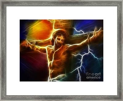 Electrifying Jesus Crucifixion Framed Print by Pamela Johnson