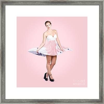 Elegant Brunette Girl In Pink Floral Fashion Dress Framed Print by Jorgo Photography - Wall Art Gallery
