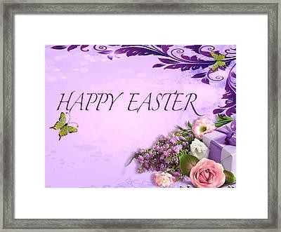 Elegant Easter Card Framed Print by Debra     Vatalaro