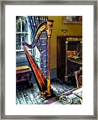 Elegant Harp Framed Print by Susan Savad