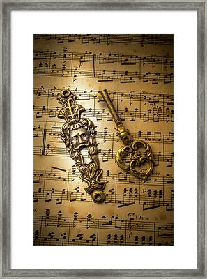 Elegant Keyhole And Sheet Music Framed Print by Garry Gay