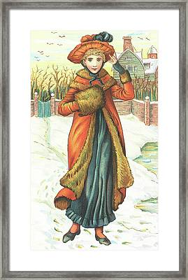 Elegant Lady In Snow, Christmas Card Framed Print by English School