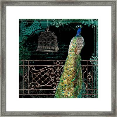 Elegant Peacock Iron Fence W Vintage Scrolls 4 Framed Print by Audrey Jeanne Roberts
