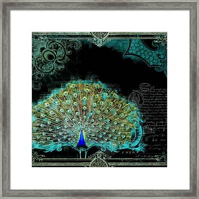 Elegant Peacock W Vintage Scrolls 3 Framed Print by Audrey Jeanne Roberts