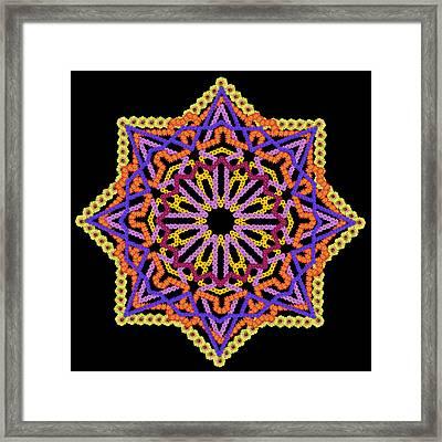 Element Of The Persian Rug - Black Star Framed Print by Aleksandr Volkov